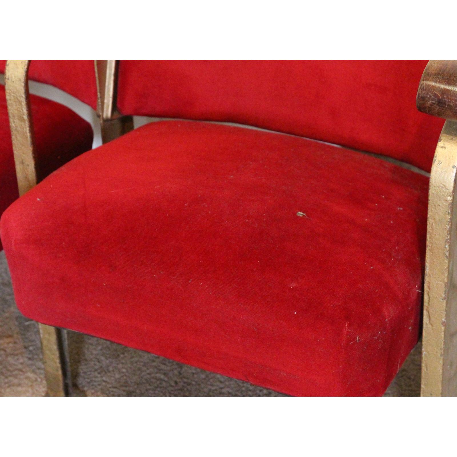 A pair of vintage retro c1930s art deco cinema theatre seats chairs a pair of vintage retro c1930s art deco cinema theatre seats freerunsca Gallery