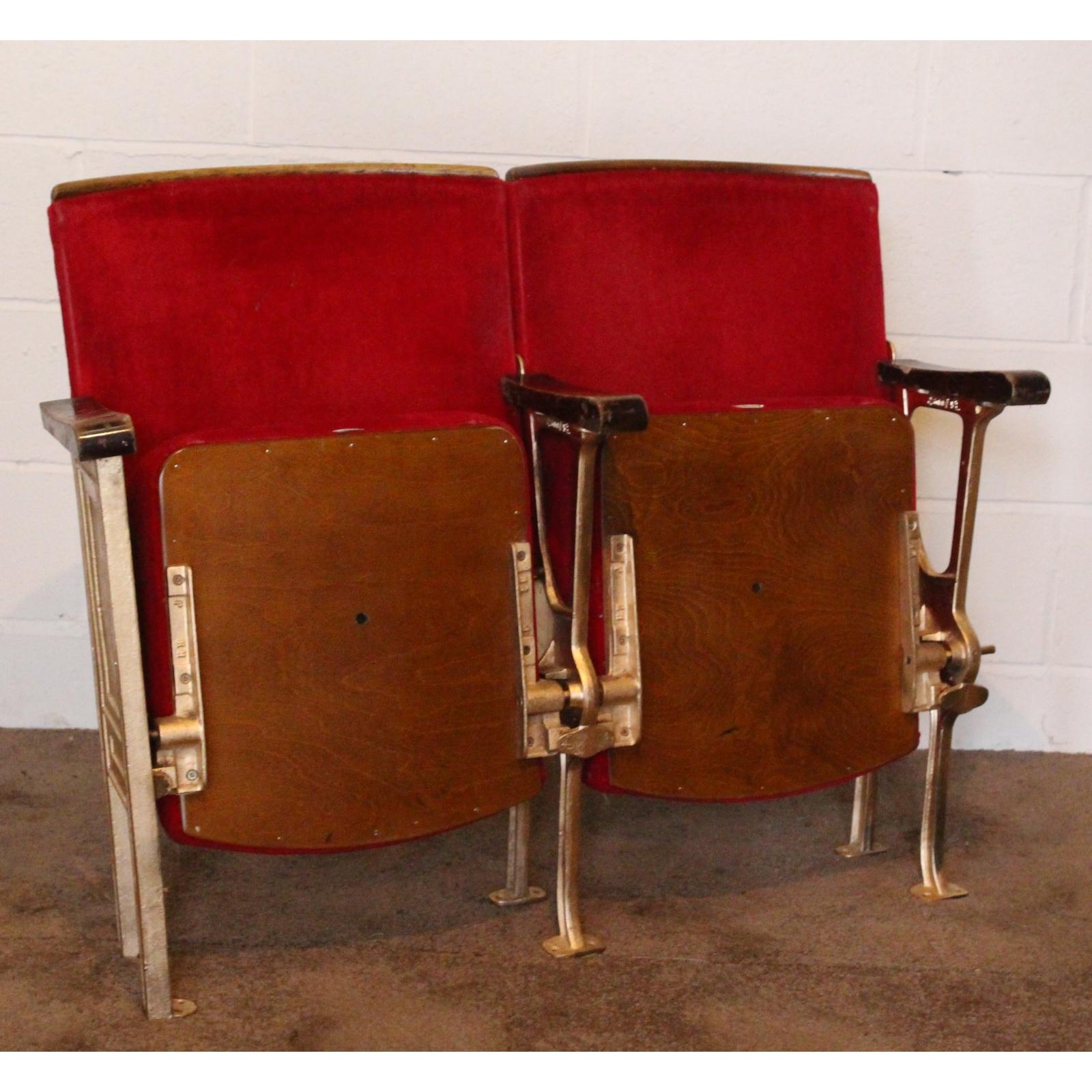 a pair of vintage art deco c1930s cinema theatre seats